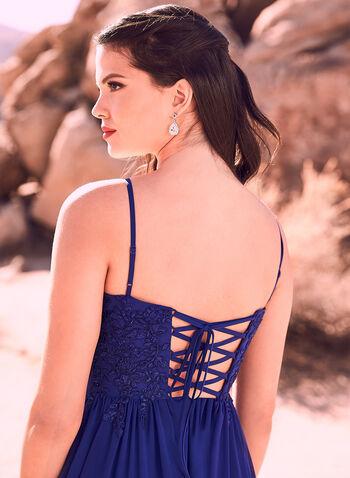 Decode 1.8 - Robe longue à corsage brodé et cristaux, Bleu, hi-res
