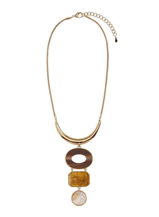 Collier avec pendentif géométrique de pierres, Brun, hi-res