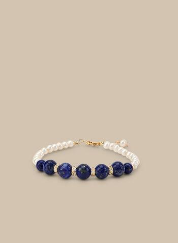Pearl & Stone Bracelet, Blue,  bracelet, pearls, stones, spring summer 2020