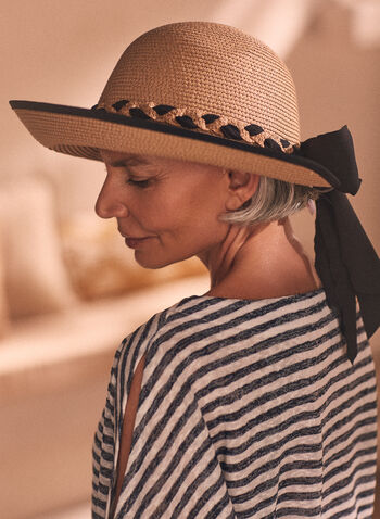 Bow Detail Straw Hat, Brown,  hat, straw hat, bow detail, braided, braid, ribbon, contrast, accessories, spring summer 2021