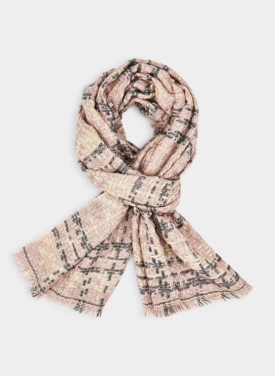 Plaid Print Blanket Scarf, Pink