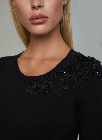Floral Appliqué Short Sleeve Sweater, Black, hi-res