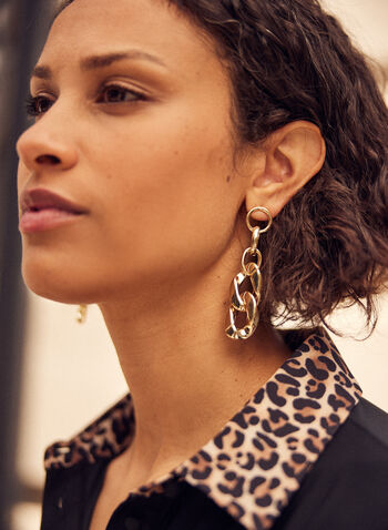 Assorted Link Dangle Earrings, Gold,  fall winter 2021, jewelry, jewellery, accessory, accessories, metal gold, links, tiered,