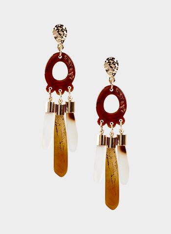 Boucles d'oreilles à pendants et aspect ambré, Brun, hi-res