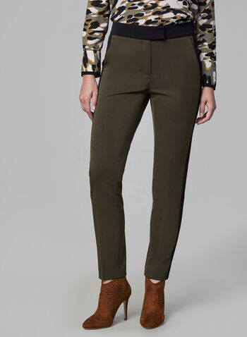 Contrast Trim Pants, Green, hi-res,  Pants, slim leg, contrast trim, fall 2019, winter 2019