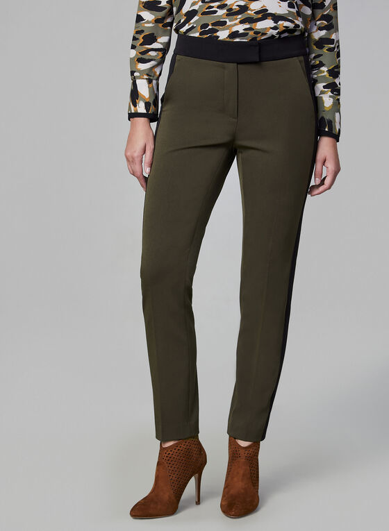 Contrast Trim Pants, Green