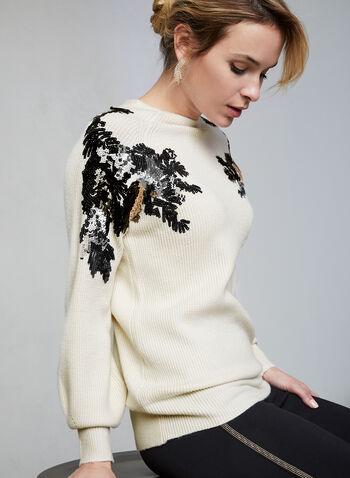 Pull à détails sequins, Blanc, hi-res,  pull, tricot côtelé, manches longues, sequins, col ras-du-cou, automne hiver 2019
