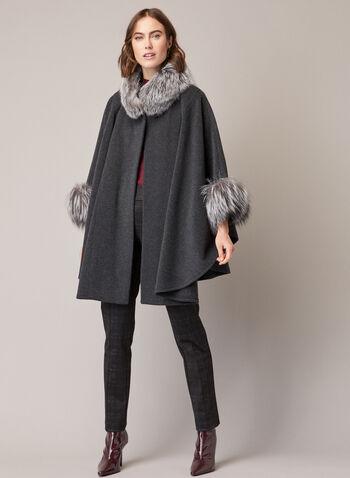 Mallia - Cape en laine, cachemire et fourrure, Gris,  cape, manteau, laine, cachemire, fourrure, automne hiver 2020