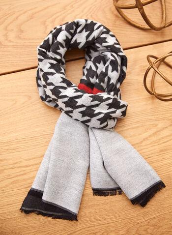Foulard à motif pied-de-poule, Noir,  accessoires, foulard, forme rectangulaire, motif, pied-de-poule, couleur unie, ourlet contrastant effiloché, laine mélangée, automne hiver 2021