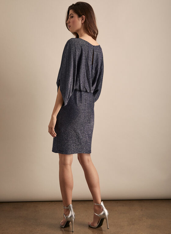 Dolman Sleeve Glitter Dress, Blue