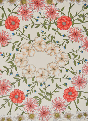 Floral Print Scarf, White, hi-res