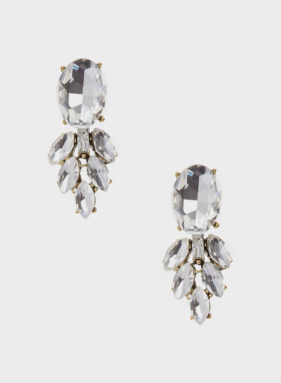 Elongated Clear Crystal Cluster Earrings, Gold, hi-res