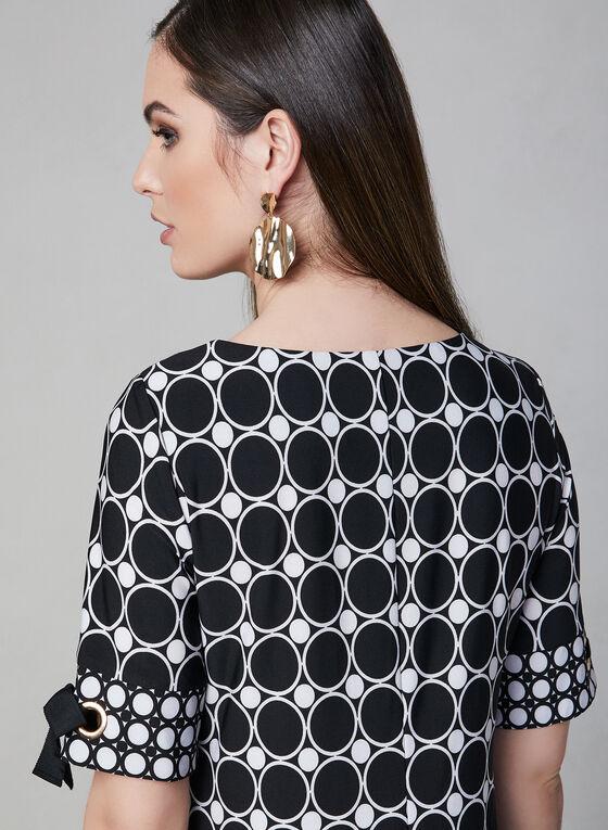Sandra Darren - Robe fourreau à motif contrastant, Noir, hi-res