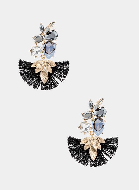 Crystal Cluster Fan Earrings, Black, hi-res