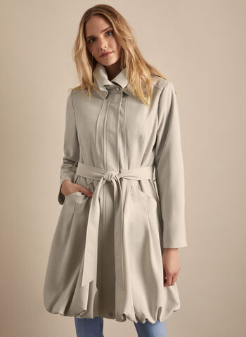 Novelti - Cinched Hemline Belted Trenchcoat, Grey,  coat, trench, cinched hemline, belt, high collar, flared, spring summer 2020