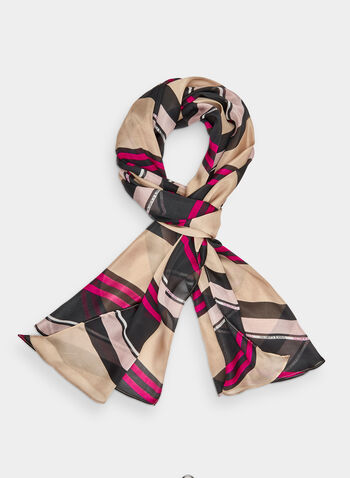 Vince Camuto - Stripe Print Scarf, Purple,  fall 2019, winter 2019, polyester, stripe print