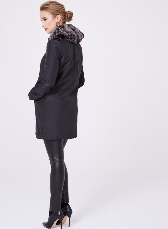 Faux Fur Reversible Coat, Black, hi-res