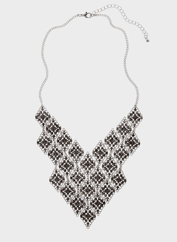Crystal Filigree Necklace , Grey, hi-res