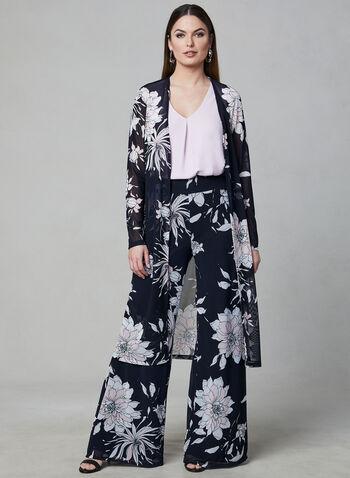 Frank Lyman - Pantalon floral en maille filet, Bleu, hi-res