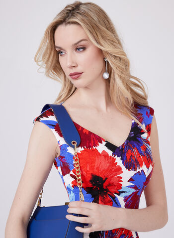Maggy London - Floral Print Sheath Dress, Red, hi-res