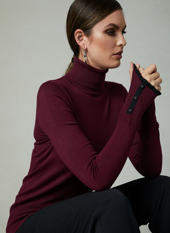 Contrast Trim Knit Turtleneck, Red, hi-res