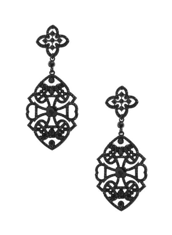 Filigree Chandelier Earrings, Black, hi-res