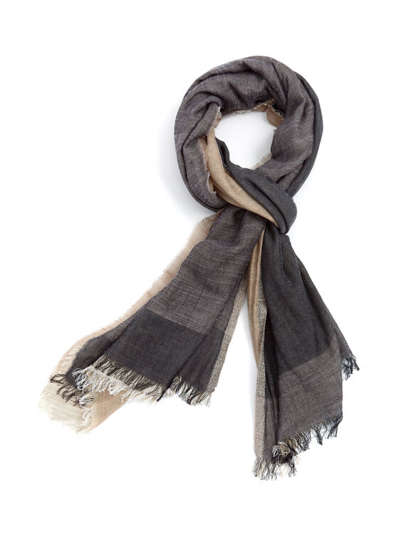 Color Block Wrap Scarf, Black, hi-res