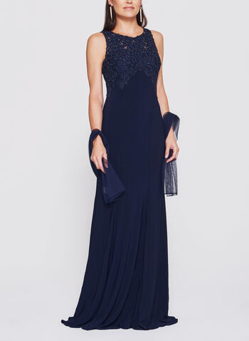 BA Nites - Rhinestone Embroidered Jersey Gown, , hi-res