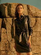 Joseph Ribkoff - Belted Faux Leather Shirt Dress, Black