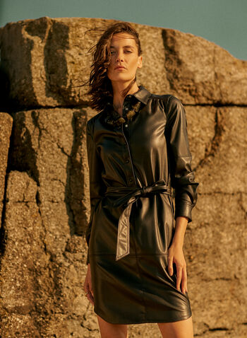 Joseph Ribkoff - Belted Faux Leather Shirt Dress, Black,  fall 2021, joseph ribkoff, shirt dress, day dress, dress, shirt collar, long sleeves, button front, tie belt, pleather, faux leather, fake leather