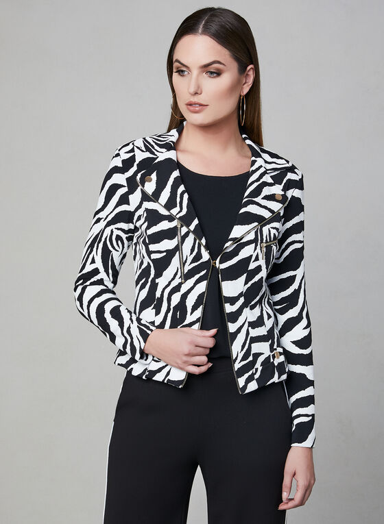 Frank Lyman - Animal Print Jacket, Black, hi-res