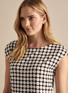Cap Sleeve Polka Dot Print Top, Black