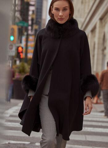 Mallia - Wool Blend & Fur Cape, Black,  fall winter 2020, fur, fox fur, canada, wool, cashmere, coat