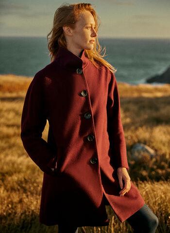 High Collar Wool Blend Coat, Purple,  coat, high neck, wool blend, button front, pockets, lined, long sleeves, fall winter 2020