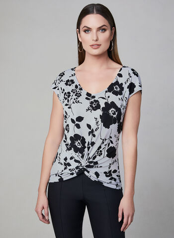 Floral Print Tie Detail Top, Grey, hi-res,  extended sleeves, short sleeves, spring 2019, crepe