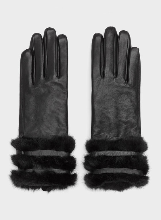 Leather Faux Fur Trim Gloves, Black, hi-res