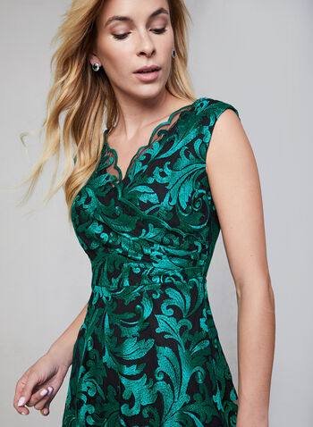 Embroidered Lace Cocktail Dress, Green, hi-res,  lace dress