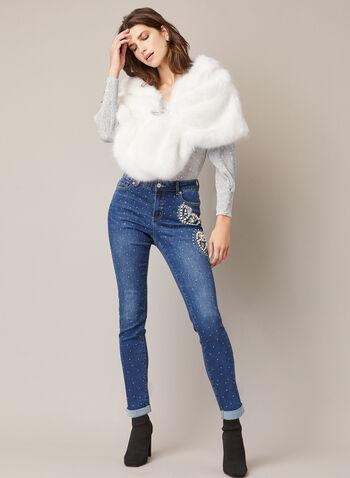 Faux Fur Stole, Off White,  Fall winter 2020, rhinestones, clip, vegan, shawl