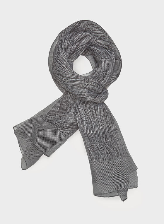 Metallic Fibre Evening Scarf, Black, hi-res