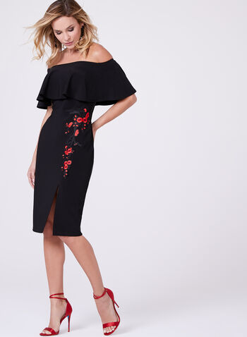 Frank Lyman - Embroidered Off The Shoulder Dress, Black, hi-res