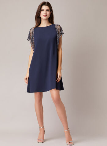 BA Nites - Beaded Sleeve Dress, Blue,  cocktail dress, scuba, crepe, rhinestones, beats, spring summer 2020
