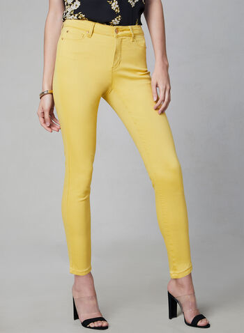 Slim Leg Jeans, Yellow, hi-res,  denim, 5 pockets, spring 2019, summer 2019