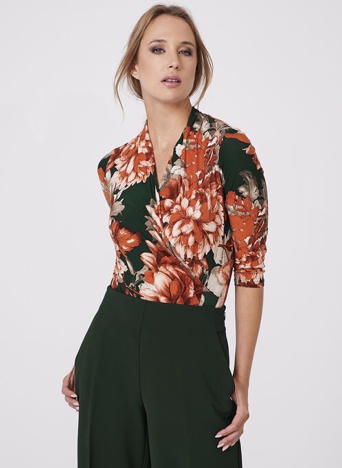 Floral Print Faux Wrap Top, Orange, hi-res