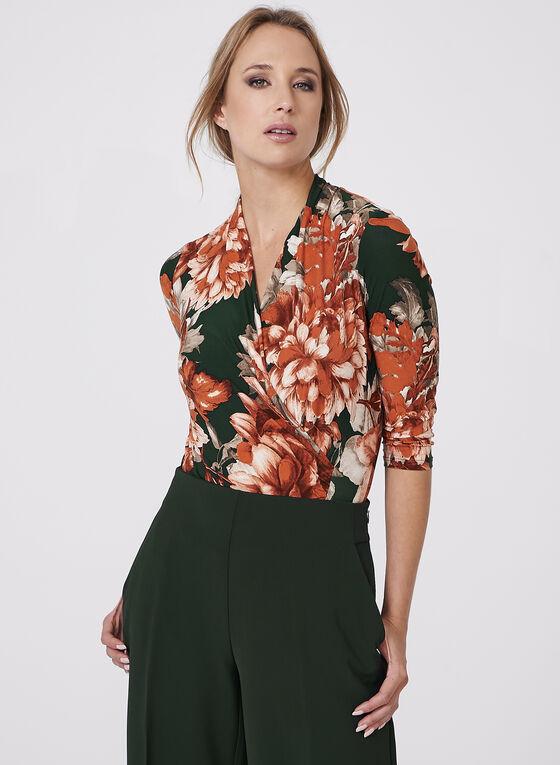 Haut cache-cœur à motif floral, Orange, hi-res