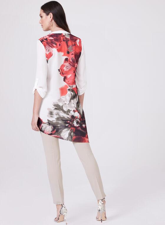 Blouse asymétrique à motif floral , Blanc, hi-res