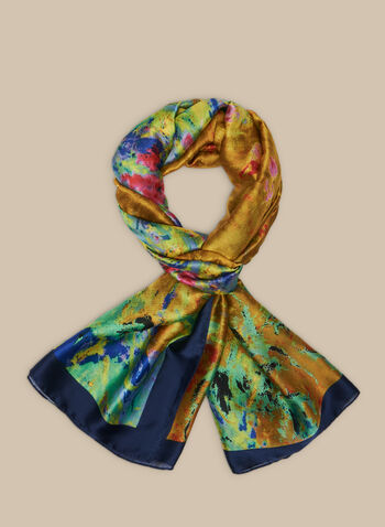 Paint-Effect Print Scarf , Green,  scarf, paint, multi-coloured, soft, oblong, lightweight, spring 2020, summer 2020