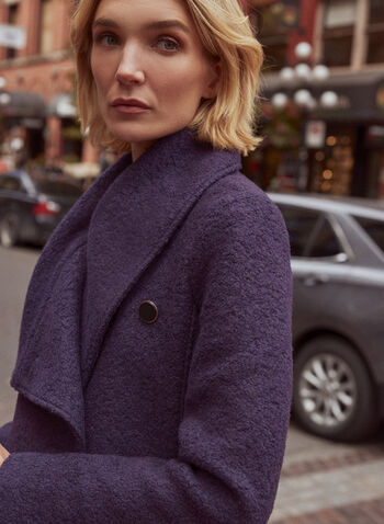 Single Button Boiled Wool Coat, Purple,  fall winter 2020, coat, jacket, envelope collar, boiled wool, shoulder pads, drape style