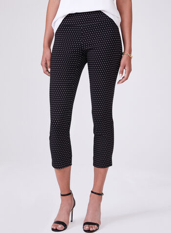 Dot Print Pull-On Capris, Black, hi-res