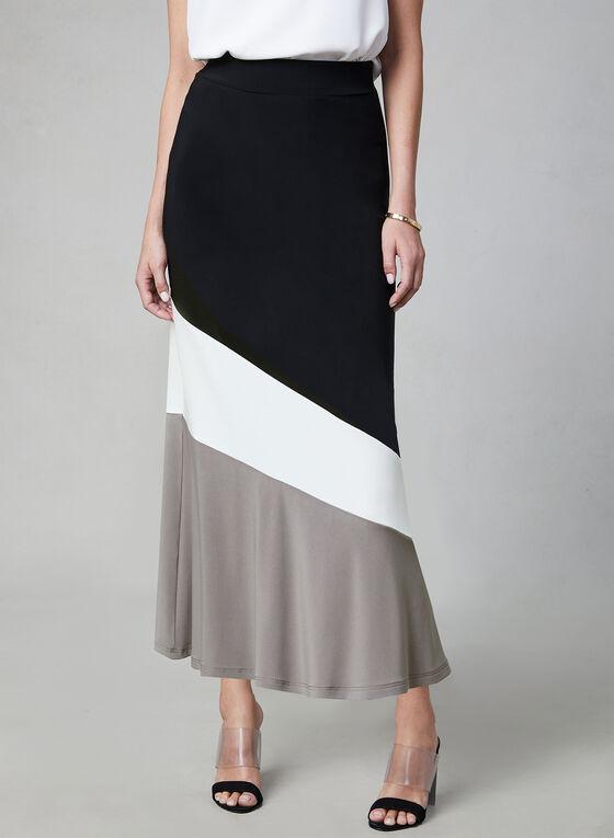 Colour Block Pull-On Skirt, Black, hi-res