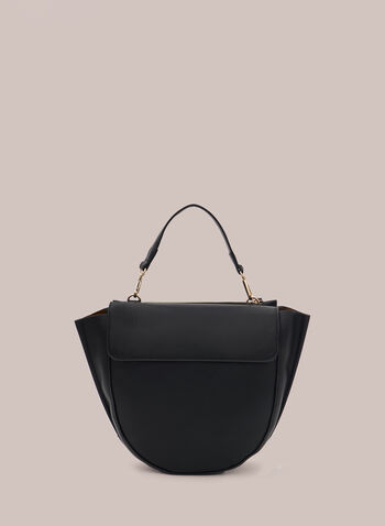 Curved Crossbody Bag, Black,  handbag, crossbody, faux leather, curved, clasp, strap, fall winter 2020